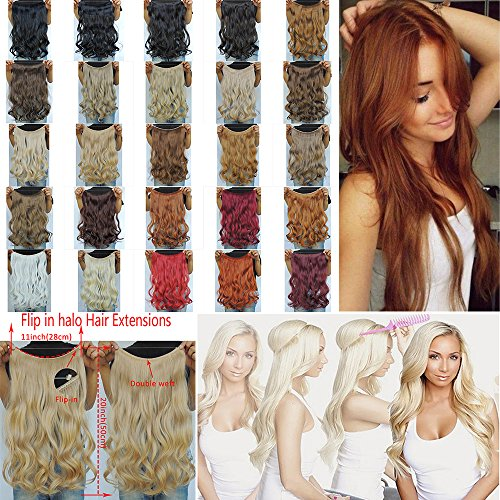 "Price comparison product image Secret Halo Hair Extensions Flip in Curly Wavy Hair Extension Synthetic Women Hairpieces 20"" (Dark Blonde #27/613)"