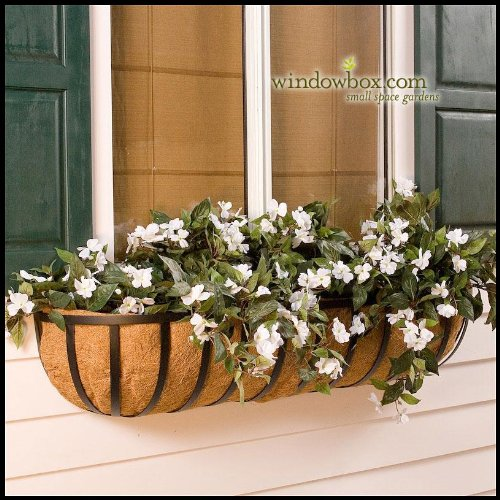 XL English Garden Hay Rack Window Basket w/ Coco Liner - 24 (24 Hay Rack)