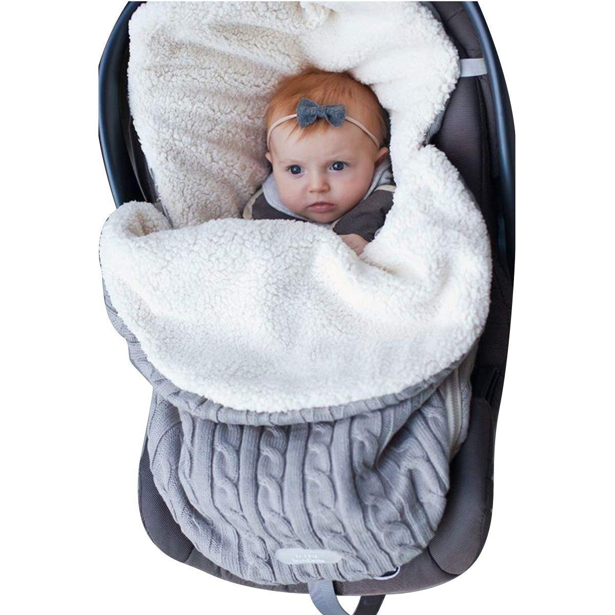 Newborn Baby Swaddle Blanket Wrap, Thick Baby Kids Toddler Knit Soft Warm Fleece Blanket Swaddle Sleeping Bag Sleep Sack Stroller Unisex Wrap for 0-12 Month Baby Boys Girls (Grey) Steerfr