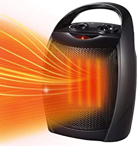 Kismile Small Electric Space Heater Ceramic Space Heater,Portable Heater Fan for Office with Adjustable Thermostat and Overheat Protection ETL Listed for Kitchen, 750W/1500W (10 Inch, Black)