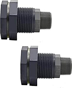 2PCS PVC Bulkhead Fitting Adapter with Garden Hose Adapter, Rain Barrel Garden Spigot Kit for Aquariums, Water Tanks, Tubs, Pools
