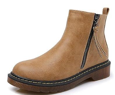 JIYE Women s Leather Zipper Low Heel Ankle Boots a5a4813a9
