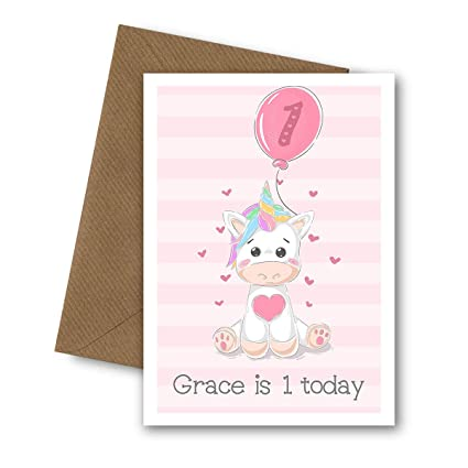 Baby Girl 1st Birthday Card Daughter Granddaughter Sister Personalised First