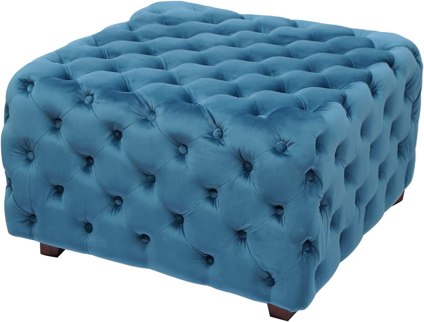 Velvet Ottoman Bench Cube Foot Rest Stool Square Coffee Table 28 9 W Teal Kitchen Dining