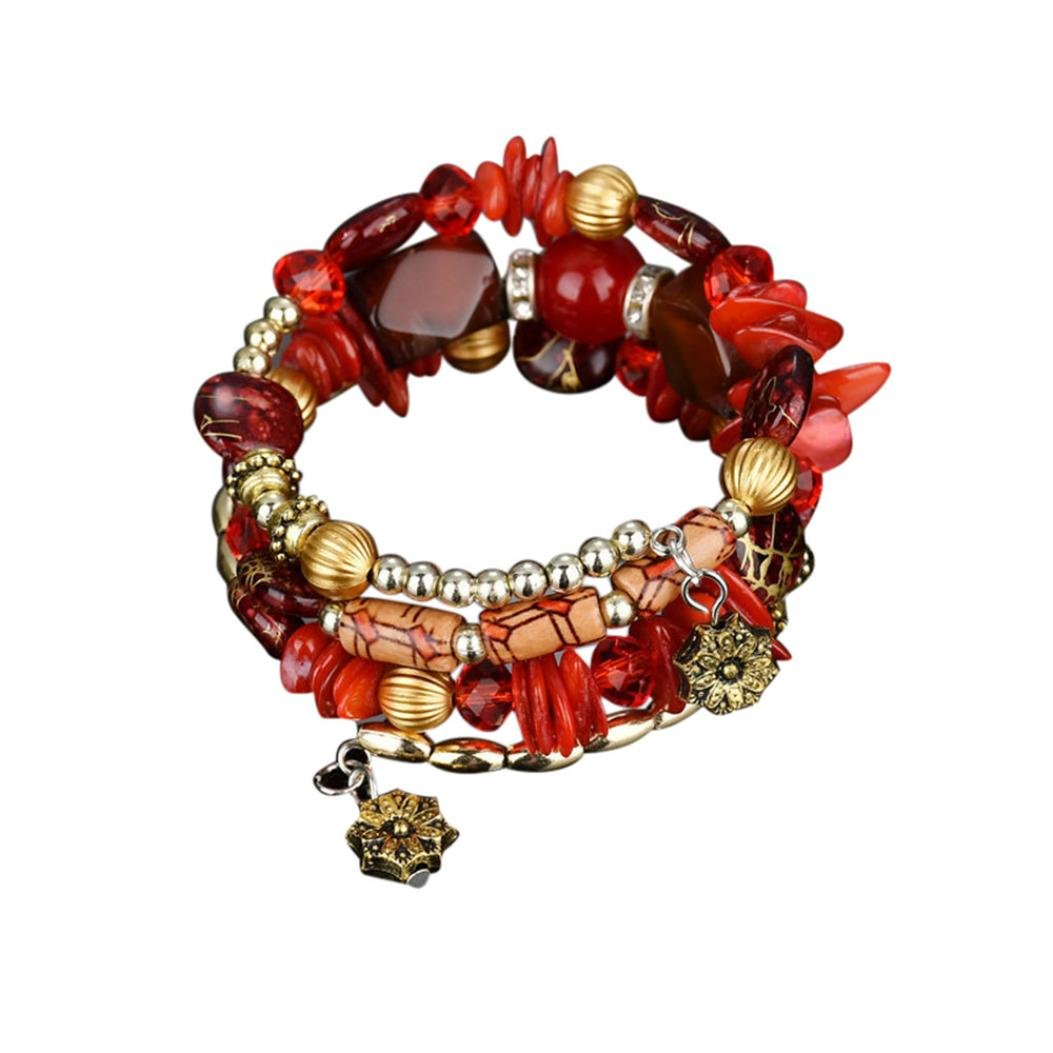 HIRIRI Hot Sale New Fashion Women Beautiful Exotic National Flavor Multilayer Colorful Stone Beads Bracelet Bangle (Red)
