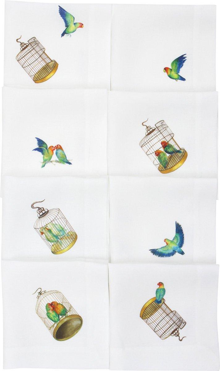Lovebirds Pure Linen Napkin (Set of Eight)