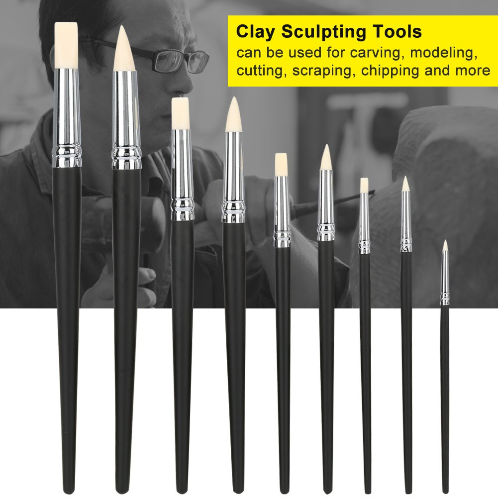 9PCS Clay Color Shapers Clay Sculpting Tools Set Rubber Head Sculpture Tools Shapers Accessory for Sculpture Pottery