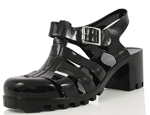 56eb3e739393 SODA Women s Ranee Caged Gladiator Ankle Strap Stacked Jelly Sandals
