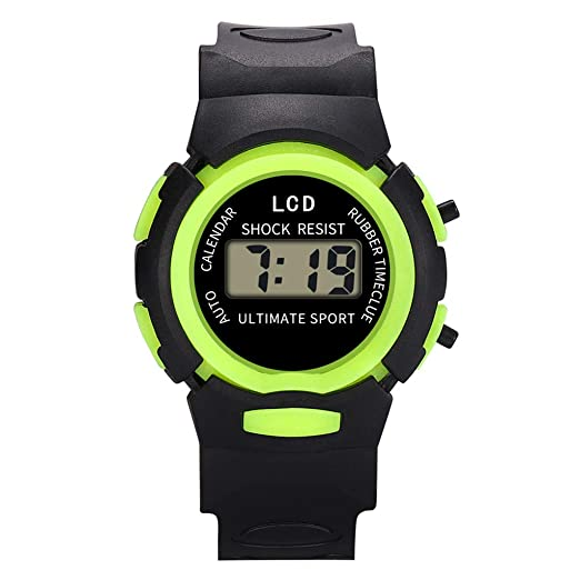 Reloj Infantil Analógico Digital Relojes Led Electronico Reloj De Pulsera Impermeable Kelry (Verde)