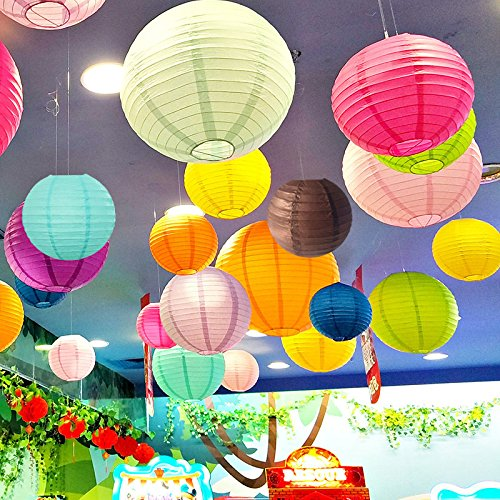Neo LOONS Lime Green Round Chinese/Japanese Paper Lanterns Metal Framed Hanging Lanterns with Warm White LED lights-- Assorted Sizes--Birthday/Wedding/Party Supplies Favors Hanging Decoration by NEO LOONS (Image #6)