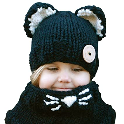 Amazon Eubuy Winter Warm Cute Animal Knitted Hood Scarf Cat