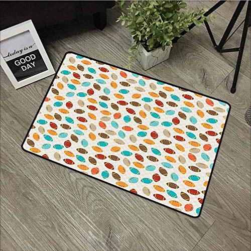 (LOVEEO Print Bath Mat,Football Colorful School Icons Rugby Balls University Championship Play Abstract Pattern,Rustic Home Decor,24