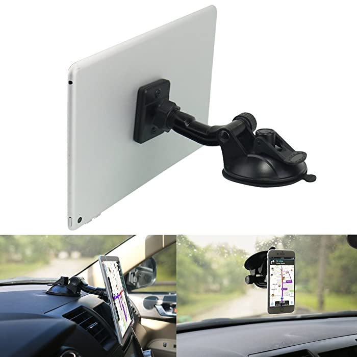 "Magnetic Phone Tablet Holder for Car,OHLPRO Dash Windshield Dashboard Mount,360 Degree Rotating Super Strong Magnet TPU Suction Viscosity for iPhone iPad Size 4""- 10"" Tablet Mount"