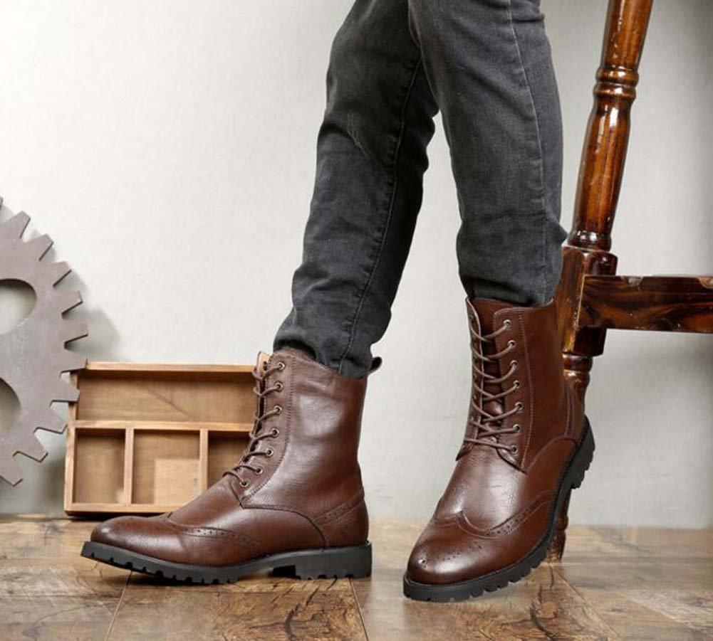 Männer Casual Geschäft Lederschuhe Martin Stiefel Mode Runde Runde Mode Zehe Lace-up Bullock Hohe Booties Armee Stiefel Tooling Schuhe Eu Größe 38-44 5a7309