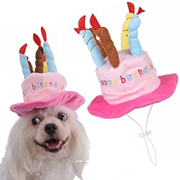 Pet Birthday Hats With Cake And Candles Design Dog Cat Cosplay Costume Accessory Headwear Pink