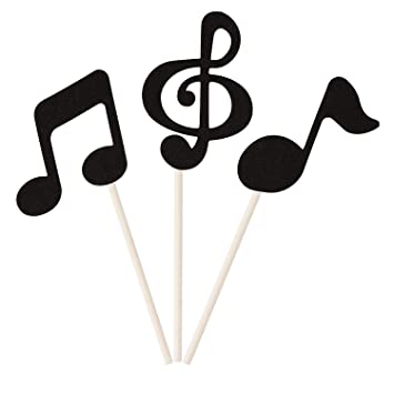 Donoter 48 Pcs Black Glitter Music Notes Cupcake Toppers Musical Symbols  Cake Picks for Kids Birthday