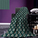 smallbeefly Damask Throw Blanket French Pattern Inspired by Rococo Era Designs Intricate Renaissance Motifs Warm Microfiber All Season Blanket for Bed or Couch Jade Green Gold