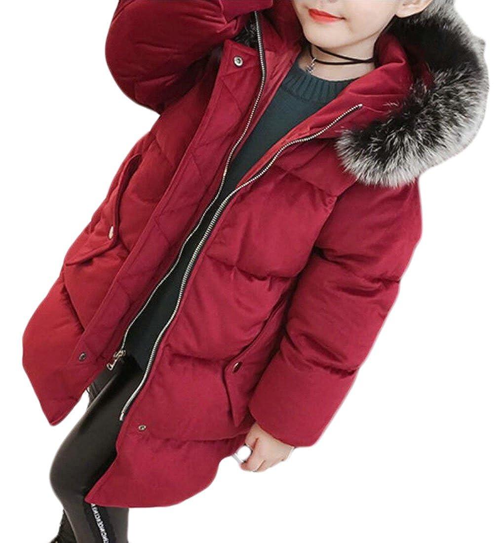 Alion Little Girl Autumn Slim Fit Faux Fur Hooded Puffer Down Coat