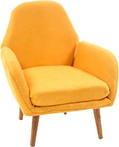 LoveinDIY Dollhouse Sofa Chair - Miniature Dolls House Furniture Arm Chair - Modern Simple Design - 1/6 Scale - Yellow