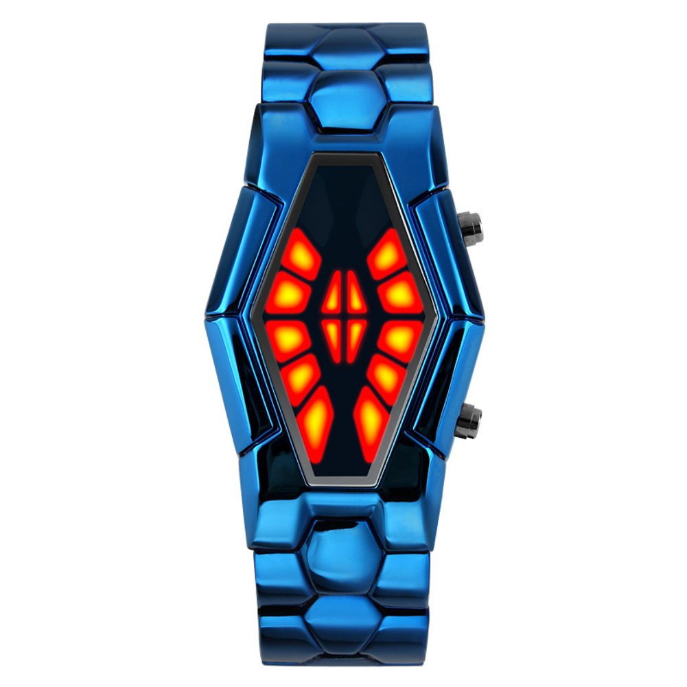 Men's waterproof sports watch,Cobra shape zinc alloy strap fashion cool two-color led boot animation wristwatch-D