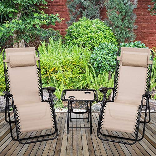 ReunionG 3 PCS Lounge Chair Table Set Zero Gravity Recliner Chair and Portable Folding Table Outdoor Yard Pool Patio Garden Cabin Beige