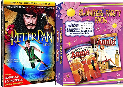 Annie Peter Pan Slumber Party Special Editon + Annie A royal Adventure Musical DVD Set & Peter Pan Live with Bonus CD Set
