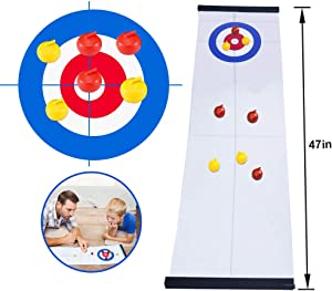 GAYISIC Tabletop Curling Game Family Indoor Sport Games for Kids and Adults Shuffleboard Mini Desktop Game with 8 Shuffleboard Pucks