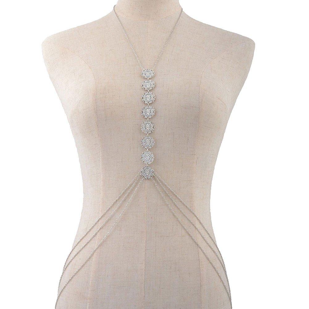 Body Chain Bikini Belts Belly Waist Bra Jewelry Necklace Crossover Harness Coins for Women Beach Wear (Silver)