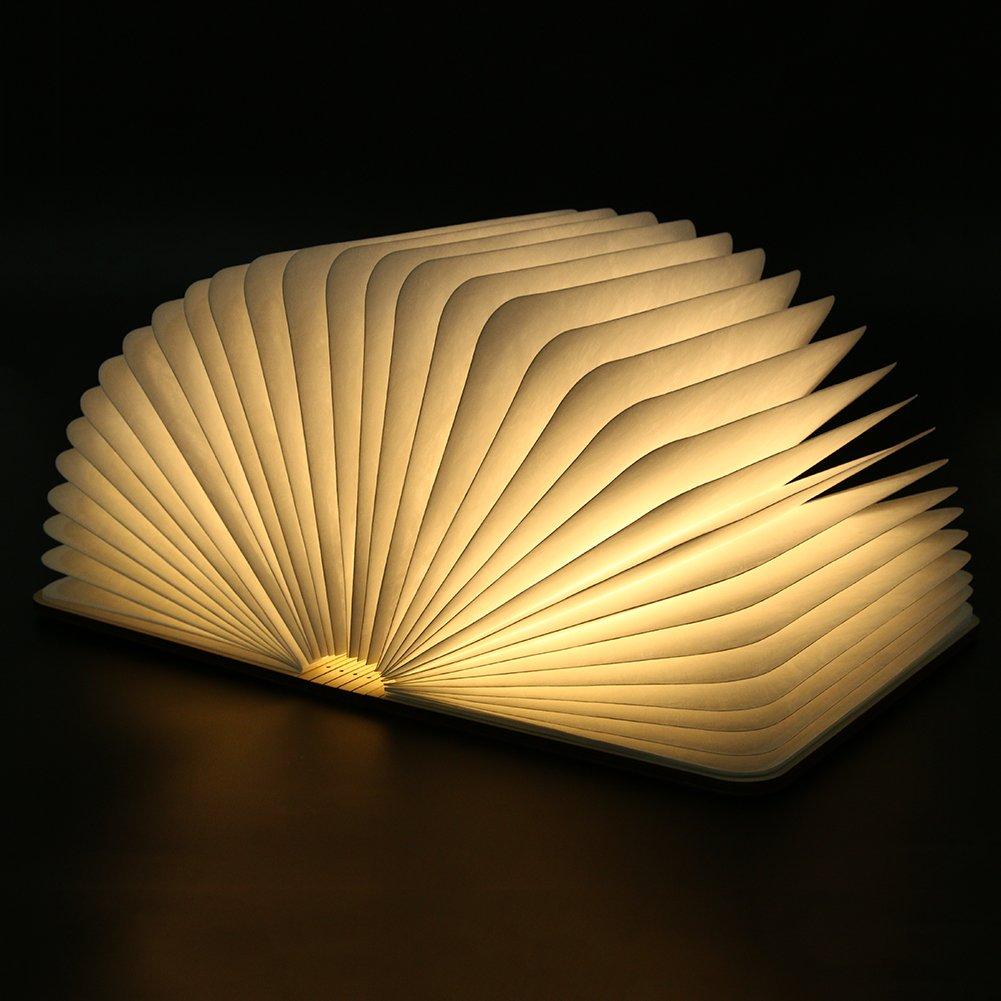 FONGFONG Buch Form Lampe aus Holz Faltbare LED Tischlampe Buch ...