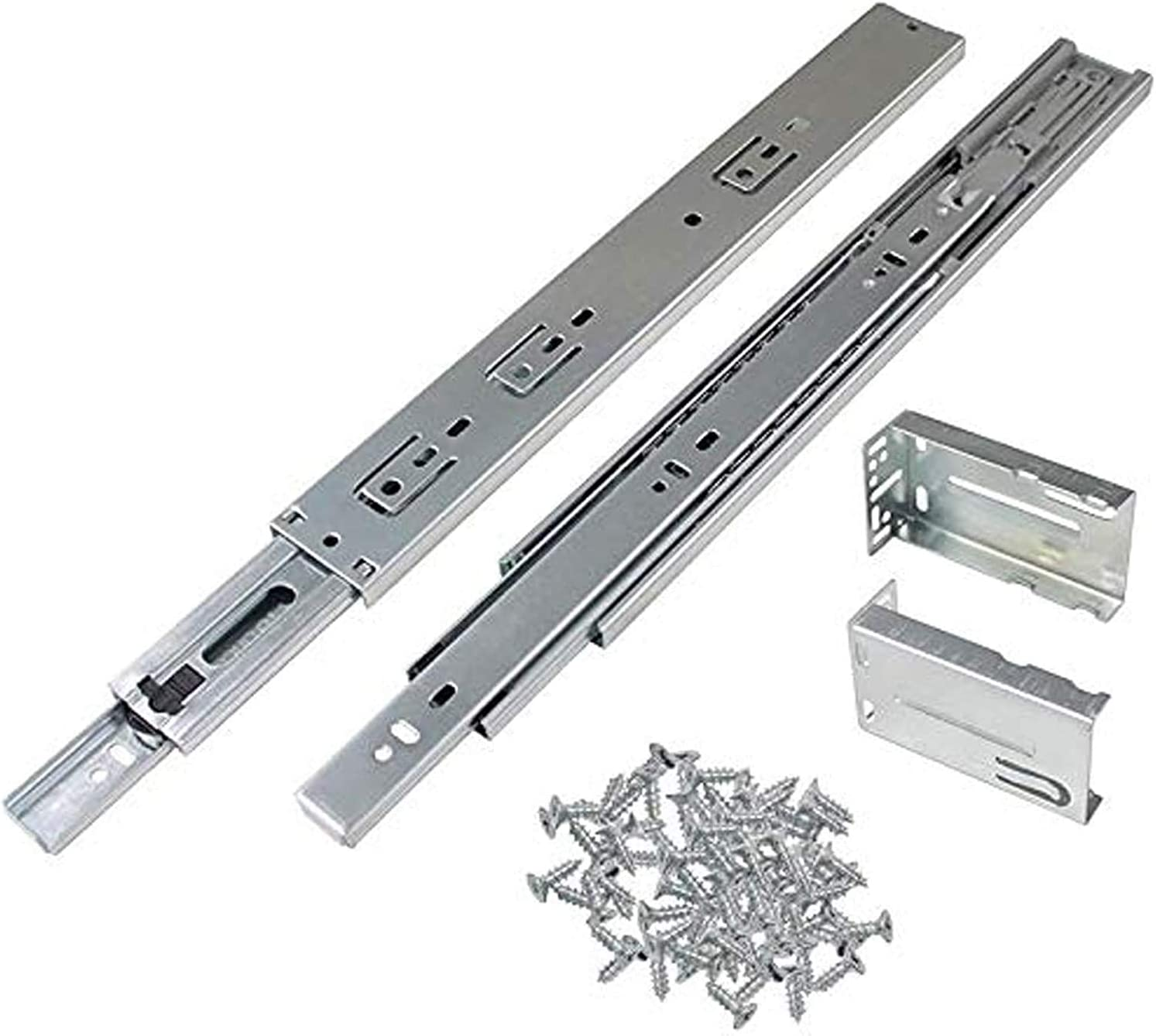 Gobrico 14-Inch Full Extension Rear/Side Mount Drawer Slides with Brackets Soft/Self Closing Ball Bearing Drawer Runners Heavy Duty Less Noise Furniture Drawer Rail Runners, 10Pairs
