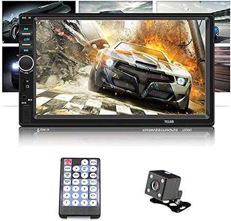 Double Din Car Stereo WZTO Car Stereo Compatible with 7 inch Touch Screen Bluetooth Headunit TF USB FM Aux-in Radio Audio Support Backup Rear View Camera Mirror Link Steering Wheel Controls