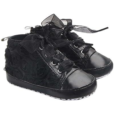 bettyhome Cotton Unisex Baby Girls Newborn Black Rose Satin Soft Sole Infant Toddler Prewalker Sneakers (0-1 Year)
