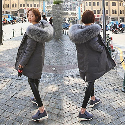 Women Loose Sleeved Big Collar Section The Of Thick Jacket Jacket The Grey In Xuanku Hair Long Down Hooded Long Loose qwxEaqz7