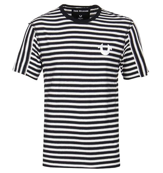 6f80654e261c True Religion Striped Raw Edge Cotton-Jersey T-Shirt Black  Amazon ...