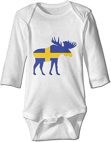 Swedish Flag Newborn Baby Girl Boy Bodysuit Jumpsuit Short Sleeved Bodysuit Tops Clothes