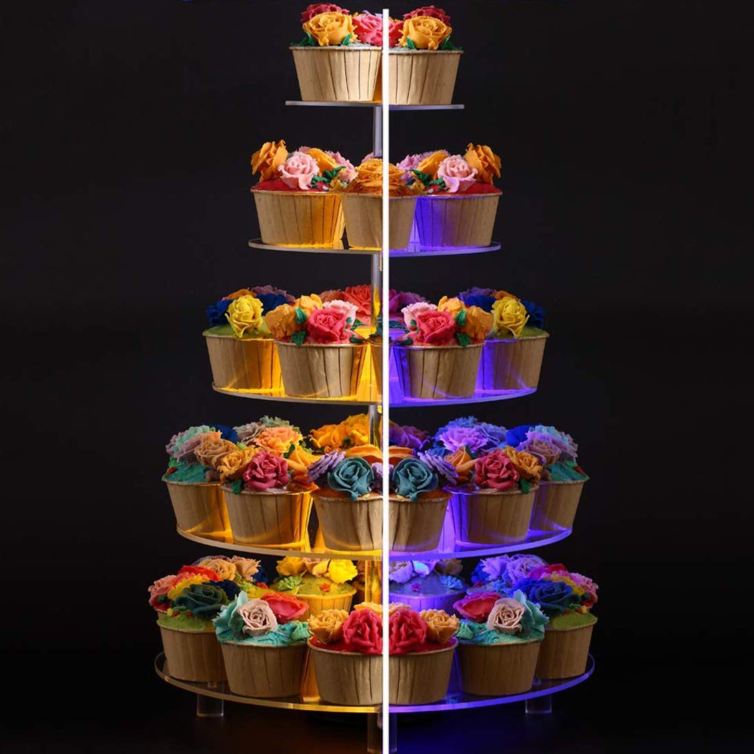 BonNoces 5 Tier Round Cupcake Stand with LED Light, 7 Color Variations - Acrylic Dessert Cake Stand - Tiered Pastry Tower with Base for Wedding, Birthday Party by BonNoces