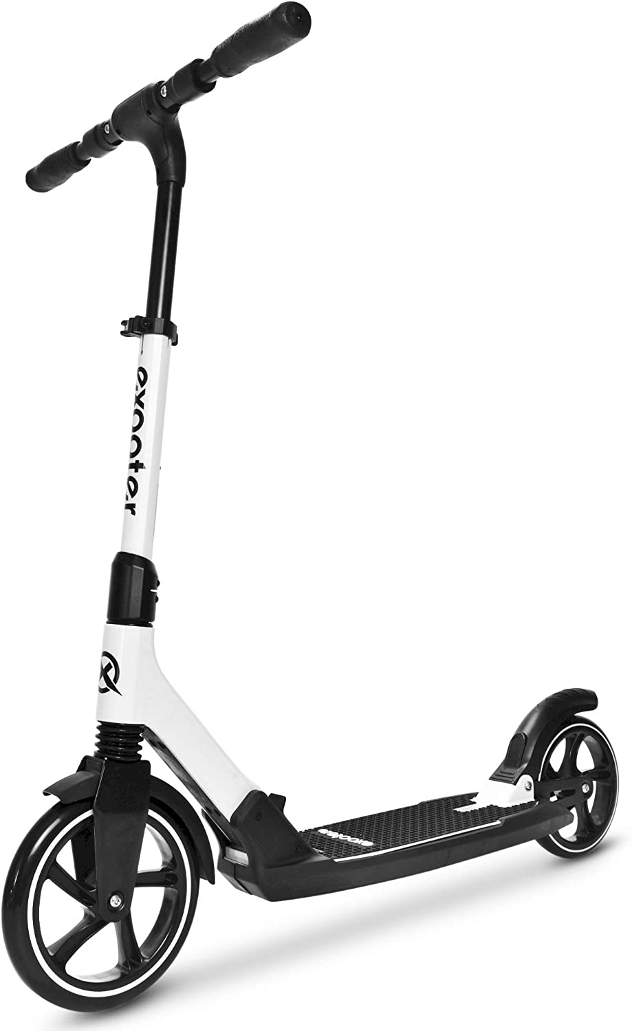 EXOOTER M7 Manual Adult Kick Scooter with Dual Suspension Shocks and 240mm 200mm Big Wheels.