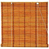 Oriental Furniture Burnt Bamboo Roll Up Window Blinds, Two Tone Honey, 48-Inch Wide by ORIENTAL FURNITURE