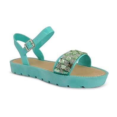 d41d2803d2d6 Footwear Sensation Womens Ladies Flatform Platform Diamante Ankle Strap  Cleated Sandals Shoes Size