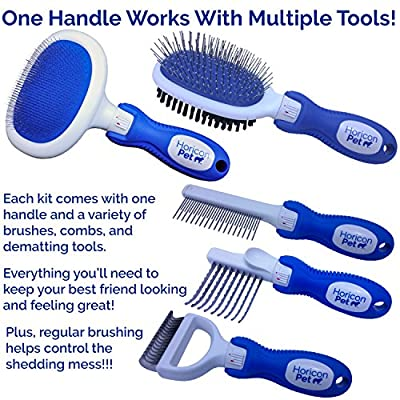 Horicon Pet Deluxe Dog Brush Kit - Interchangeable Dog Grooming Brushes, Dematting/Undercoat Comb, Slicker Brush, De-Matting Razor, Spring Comb, Ball Pin Brush, Bristle Brush from Horicon Pet
