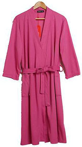 Cotton Men Robes Summer Casual Solid Color Sleepwear Male