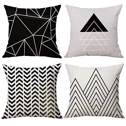 "WOMHOPE 4 Pcs - 16.5"" Black Geometric Cotton Linen Throw Cov"