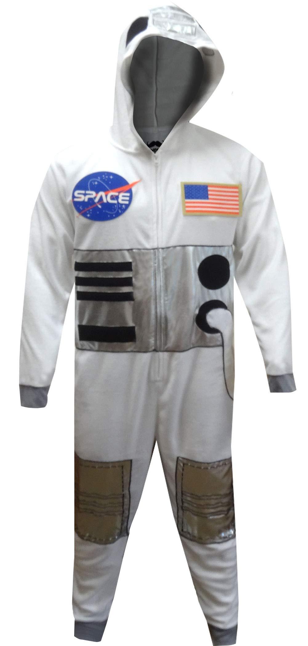 MJC Men's NASA Space Suit Be an Astronaut Onesie Pajamas (2XL/3XL) White