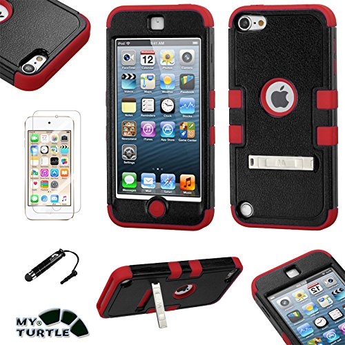 MyTurtle Shockproof Hybrid 3-Layer Hard Silicone Shell Cover with Stylus Pen and Screen Protector for iPod Touch 5th 6th Generation, Black Red KickStand - Ipod 5th Generation Black Case