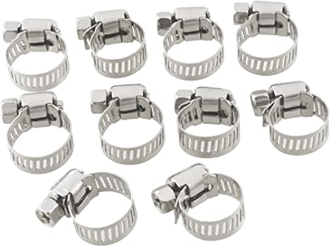 uxcell 100 Pcs 13mm-19mm Adjustable Pipe Tube Hose Clamp Clip 8mm Width