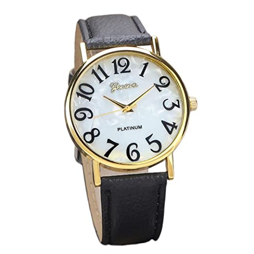 Dressin Womens Men Quartz Watch,Fashion Casual Retro Digital Dial Analog Leather Band Wrist Watch