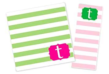 amazon com initial notepad set pink green set of 2 notepads
