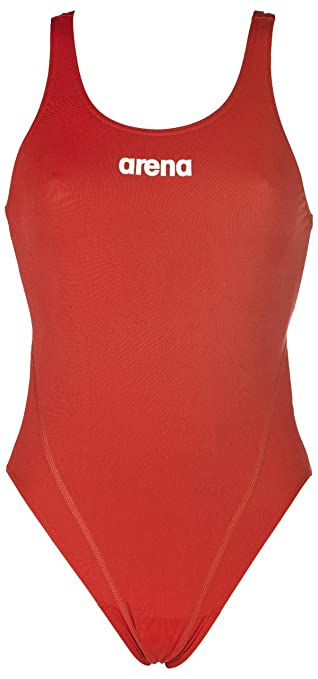 arena Solid Swim Tech High One Piece Swimsuit Women red