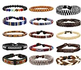 Thunaraz 15Pcs Braided Leather Bracelets for Men Women Natural Stone Wooden Beaded Bracelet Bangle Wrap Adjustable