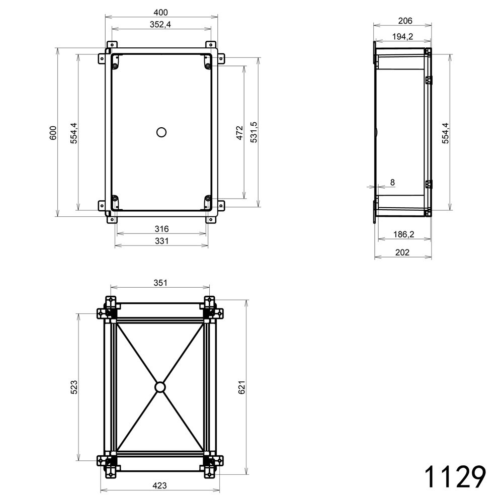 Schaltschrank IP65 Sichttür Industriegehäuse 400 x 600 x 200 mm ...